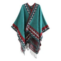 QZUnique Women's Sweater Shawl Cardigan Cloak with Tassels Hem Poncho
