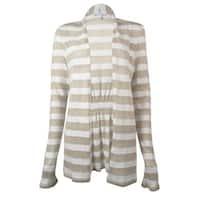 Charter Club Women's Striped Long Sleeve Cardigan Top - Sand Combo - S