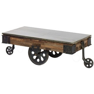 "Harp and Finial HFF24820  Mackinal 52"" Wide Iron and Wood Coffee Table with Wheels - Galvanized Tin"