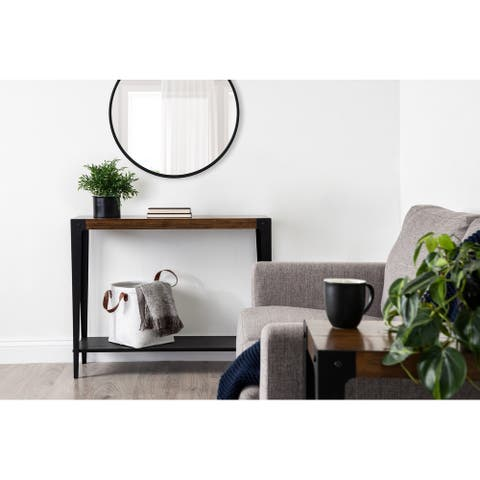 Kate and Laurel Vexler Wood and Metal Console Table - 38x12x30