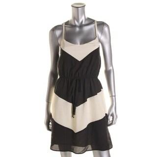Be Bop Womens Juniors Crepe Colorblock Casual Dress - M