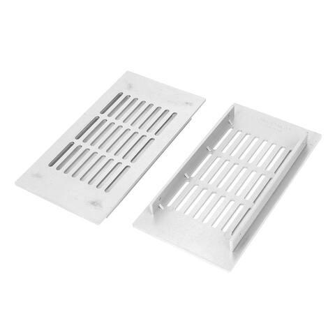 Office Home Aluminum Alloy Rectangle Design Air Hole Vent Louver 2 Pcs