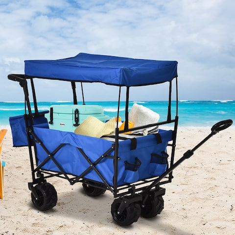DURHAND Outdoor Push/Pull Shopping Collapsible Beach Wagon Cart with Weather-Resistant Canopy & All-Terrain Wheels