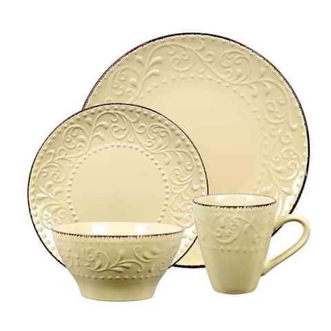 Lorren Home Trends 16 Piece Stoneware Scroll Dinnerware Set-Yellow