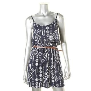 Trixxi Womens Juniors Aztec Print Sleeveless Casual Dress
