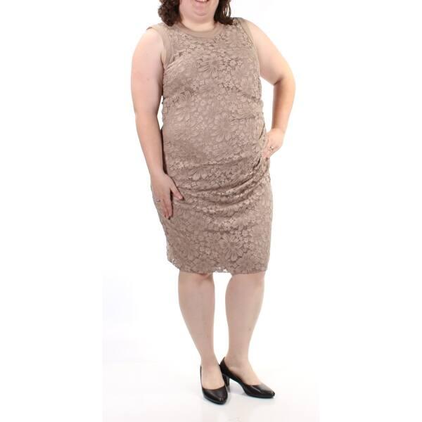 9c9e9644abd08e Shop CALVIN KLEIN Womens Beige Ruched Lace Sleeveless Jewel Neck Knee  Length Sheath Harem Evening Dress Plus Size: 14W - On Sale - Free Shipping  On Orders ...