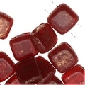 CzechMates Glass 2-Hole Square Tile Beads 6mm 'Gold Marbled Oxblood' (1 Strand) - Thumbnail 0