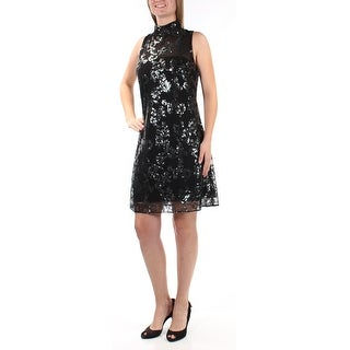 AMERICAN LIVING Womens Black Sequined Lace Floral Turtle Neck Above The Knee Sheath Party Dress Size: 10