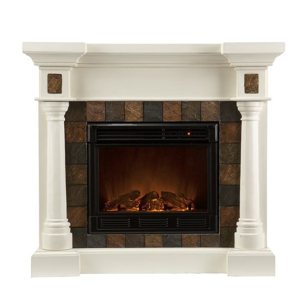 Southern Enterprises 37-251-023-0-18 Carrington Faux Slate Convertible Electric Fireplace - Ivory