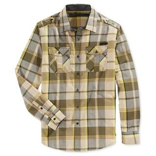 Sean John Mens Button-Down Shirt Plaid Epaulet