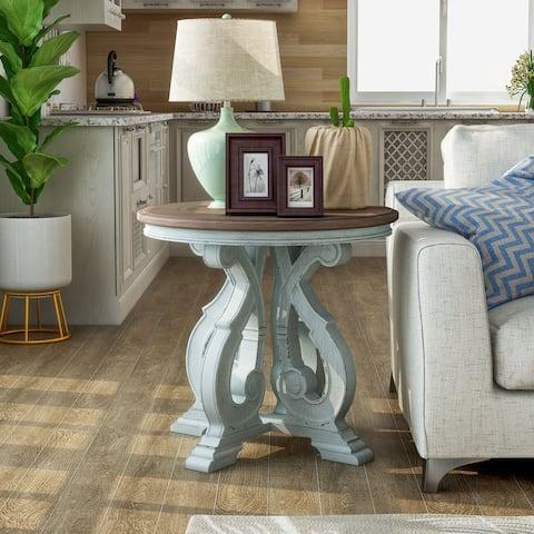 Furniture of America Roah Transitional Dark Oak Solid Wood End Table