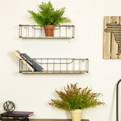 Glitzhome Farmhouse-Pack 2 Wall Shelf Garage Storage Rack Floating Shelves