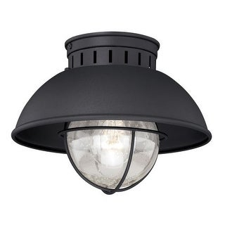 Vaxcel Lighting T0142 Harwich 1 Light Flush Mount Outdoor Ceiling Fixture with Clear Seeded Glass and Metal Shade - 10 Inches