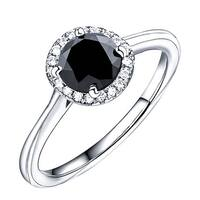 Prism Jewel 1.08 TCW Black Color Diamond with Natural Diamond Halo Engagement Ring - White G-H