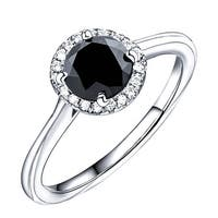 Prism Jewel 1.08 TCW Black Diamond with Natural Diamond Engagement Halo Ring