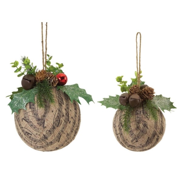 """Pack of 3 Burlap Music Ball with Holly and Bells Decorative Christmas Ornament 2-Piece Sets 7"""" - brown"""