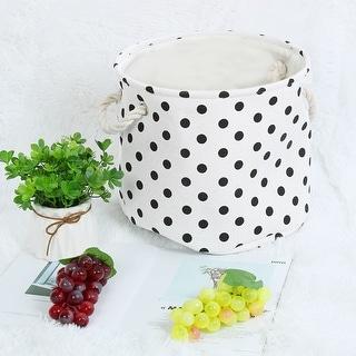"""Linen Fabric Storage Bin Toy Box Basket Organizer 13"""" x 9.8"""" Black Dot Style - Black Dot - 13"""" x 9.8"""""""