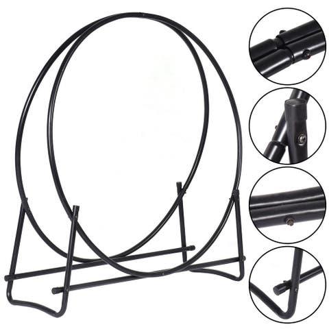 Costway 40-Inch Tubular Steel Log Hoop Firewood Storage Rack Holder