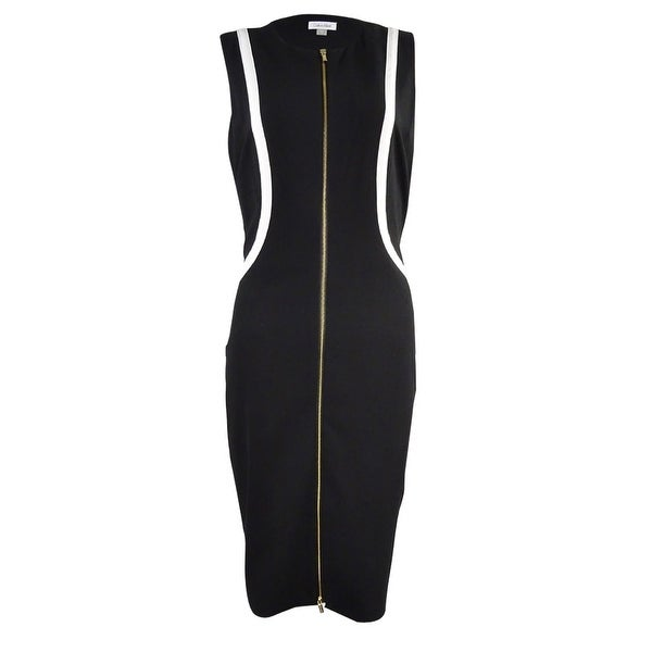 Shop Calvin Klein Womens Piped Gabardine Zip Sheath Dress Black