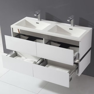 """Miseno MVDU48 47-3/5"""" Wall Mounted Vanity Set with Cabinet, Acrylic Vanity Top, Two Integrated Sinks and Single Faucet Holes"""