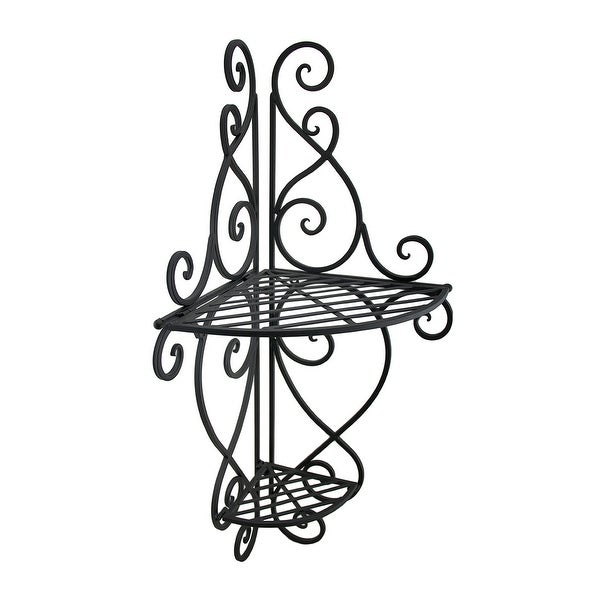 Shop 2 Tier Scrolling Metal Decorative Corner Wall Shelf