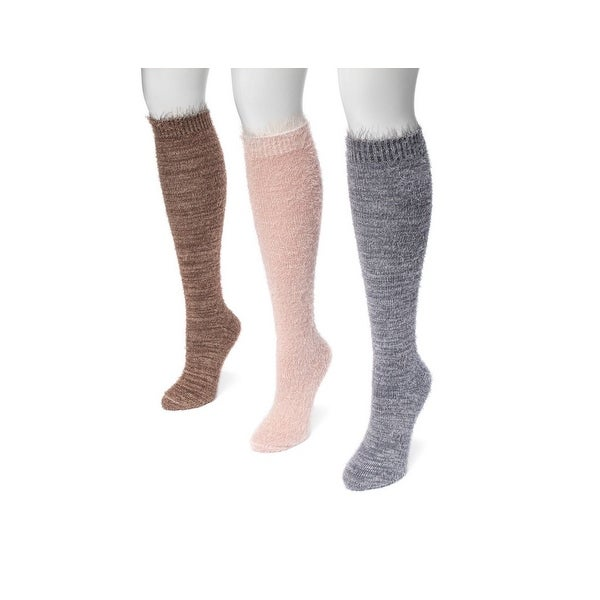 Muk Luks Socks Womens Feather Yarn Knee High 3 pack One Size - One size