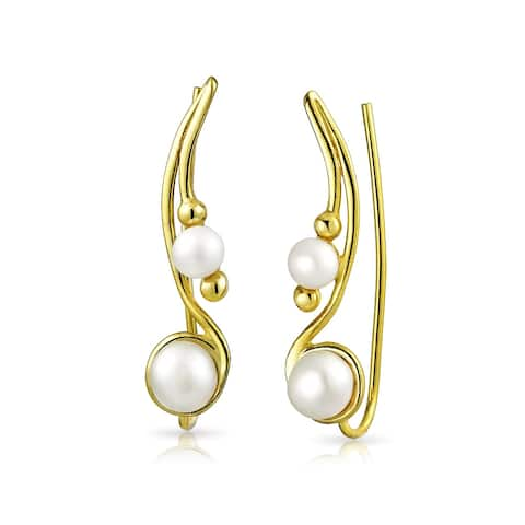White Freshwater Cultured Pearl Wire Ear Pin Climbers Earrings For Women Crawlers 14K Gold Plated 925 Sterling Silver