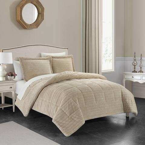 Chic Home Rajan 3 Piece Comforter Set Ribbed Textured Microplush Sherpa Bedding