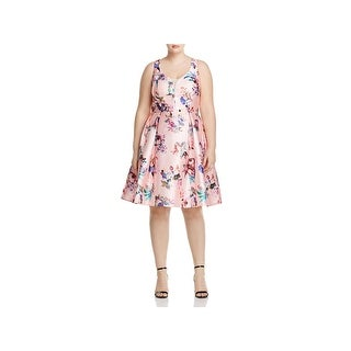 City Chic Womens Plus Casual Dress Floral Print Double V