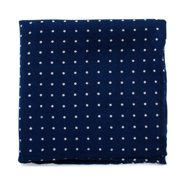 Navy and White Polka Dot Wool Pocket Square