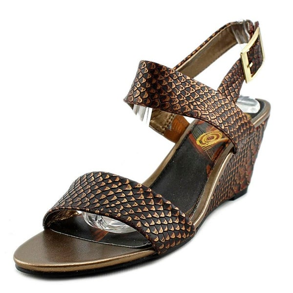 Icon Shoes Crystal Women Open Toe Leather Bronze Wedge Sandal