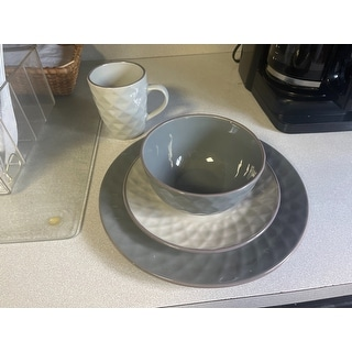 Elama Tahany Slate and Stone Pearl 16-piece Dinnerware Set