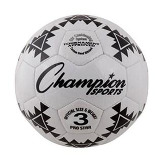 Champion Sports Pro Star Soccer Ball, Black & White - Size 3