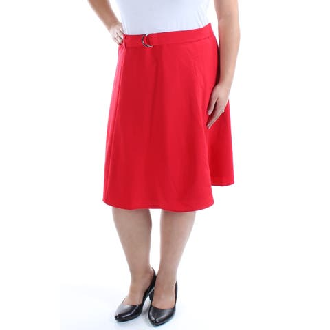 NINE WEST Womens Red Belted Knee Length A-Line Skirt Size: 16
