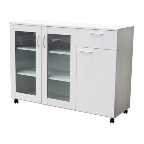Pilaster Designs Gremlin Wheeled Kitchen Sideboard Buffet Cabinet