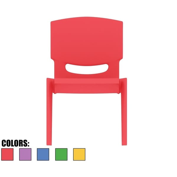 "2xhome - Red - Kids Size Plastic Side Chair 12"" Seat Height"