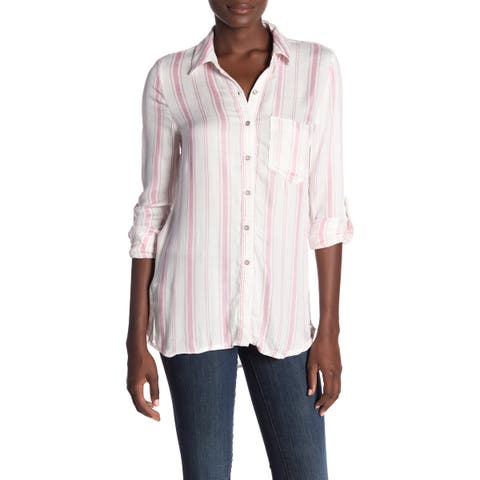Love Fire Pink Womens Size Large L Striped Button-Front Knit Top