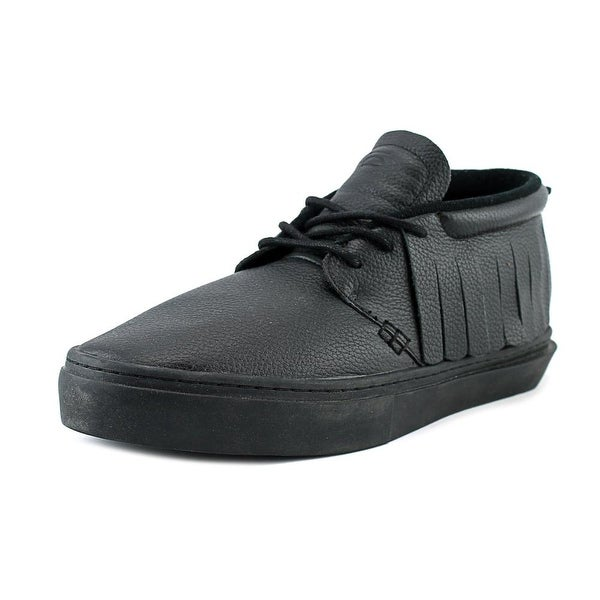 Clear Weather One-On-One Men Round Toe Leather Black Sneakers