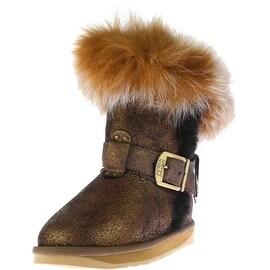 Australia Luxe Womens Tsar Short Sheepskin Crackle Mid-Calf Boots
