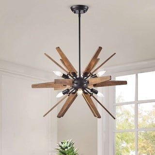 Bernice Antique Black Sputnik Natural Wood 6-light Chandelier