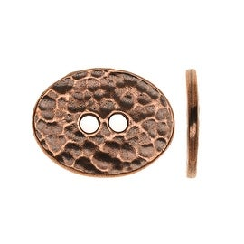 TierraCast Pewter, Oval 2-Hole Button Distressed 15x19mm, 1 Pc Antiqued Copper
