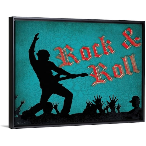 """""""Rock and Roll"""" Black Float Frame Canvas Art"""