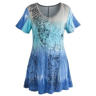 Women's Gracie Tunic Top - Short Sleeve Blue Ombre Blouse