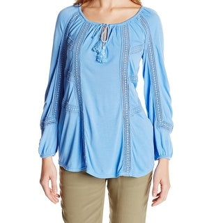 Lucky Brand Blue Womens Size Small S Mixed-Lace Peasant Blouse