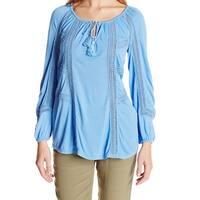 Lucky Brand Blue Womens Size Small S Split Neck Lace Peasant Blouse