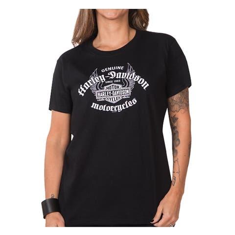Harley-Davidson Women's Genuine Flight Short Sleeve Crew Neck Tee, Black