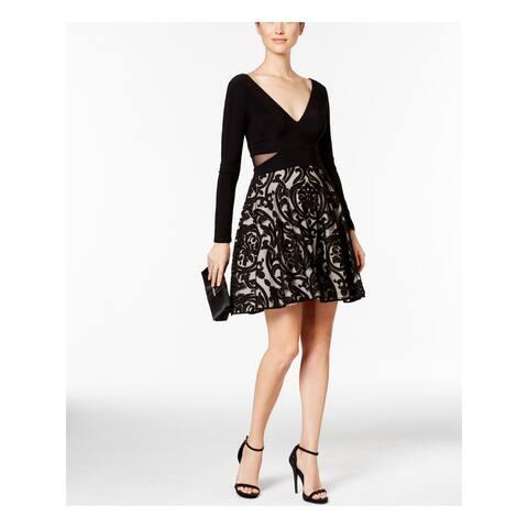 XSCAPE Black Long Sleeve Short Dress 14