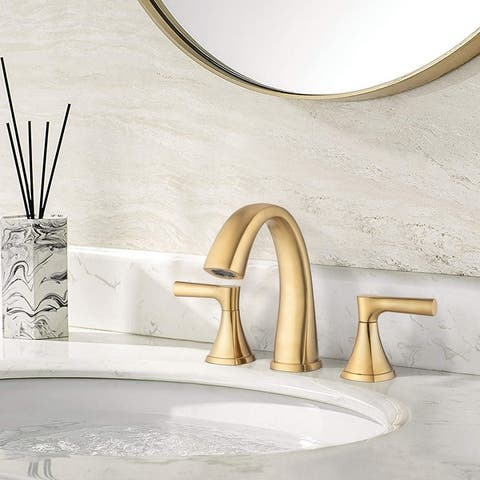 Widespread Bathroom Sink Faucets Two Handle 3 Hole Vanity Bath Faucet with Drain Assembly