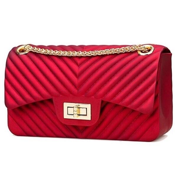 Red Women/'s Fashion Shoulder Bag Cross body Handbag Jelly Chain Bag