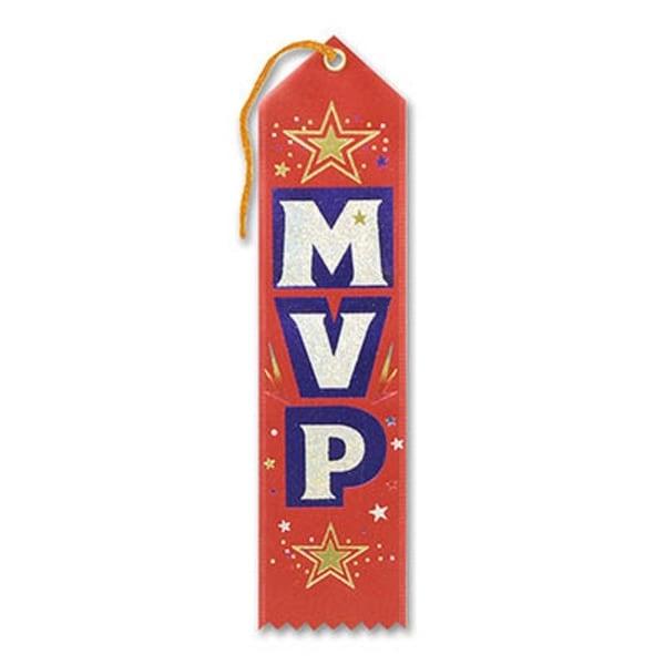 "Pack of 6 Red ""MVP Award"" School Award Ribbon Bookmarks 8"""